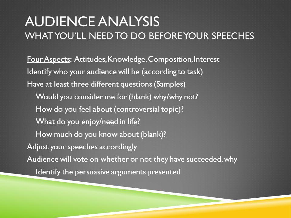 Audience? Persuasive technique?