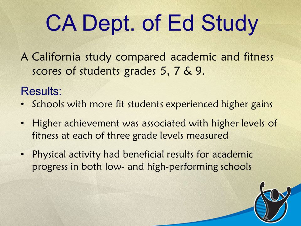 CA Dept. of Ed Study A California study compared academic and fitness scores of students grades 5, 7 & 9. Results: Schools with more fit students expe