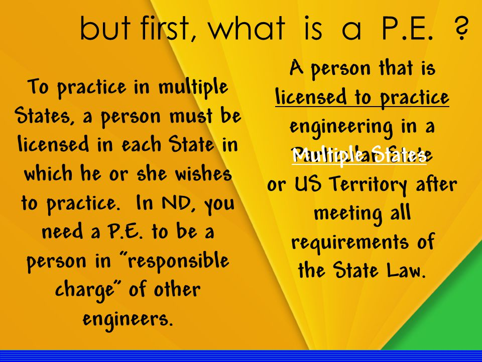 A person that is licensed to practice engineering in a Particular State or US Territory after meeting all requirements of the State Law.