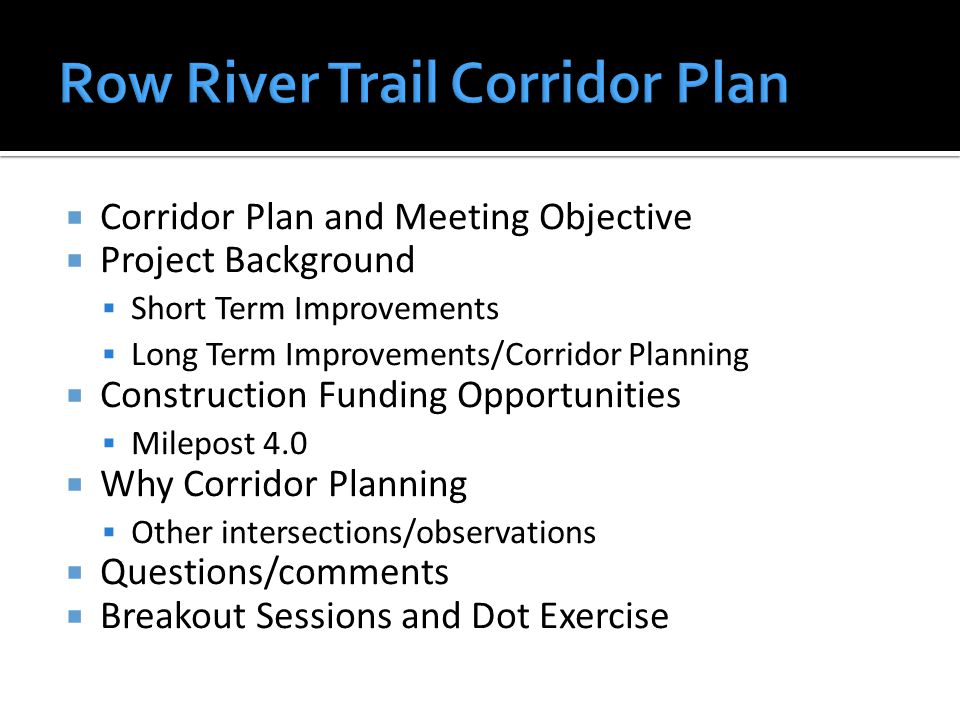  Corridor Plan and Meeting Objective  Project Background  Short Term Improvements  Long Term Improvements/Corridor Planning  Construction Funding Opportunities  Milepost 4.0  Why Corridor Planning  Other intersections/observations  Questions/comments  Breakout Sessions and Dot Exercise