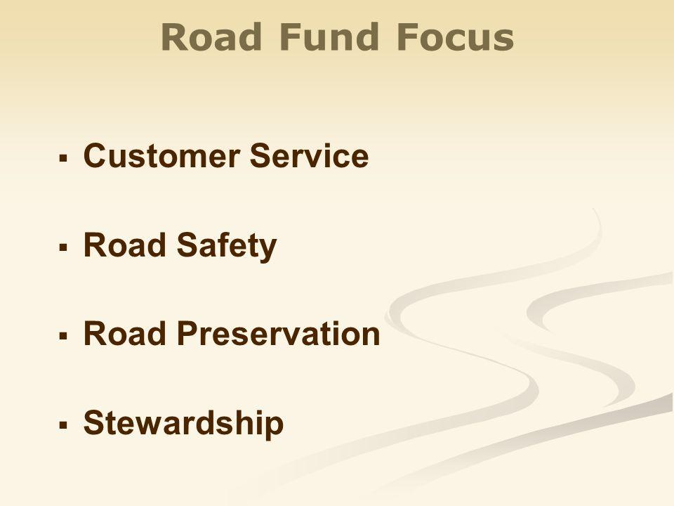 Road Fund Focus   Customer Service   Road Safety   Road Preservation   Stewardship