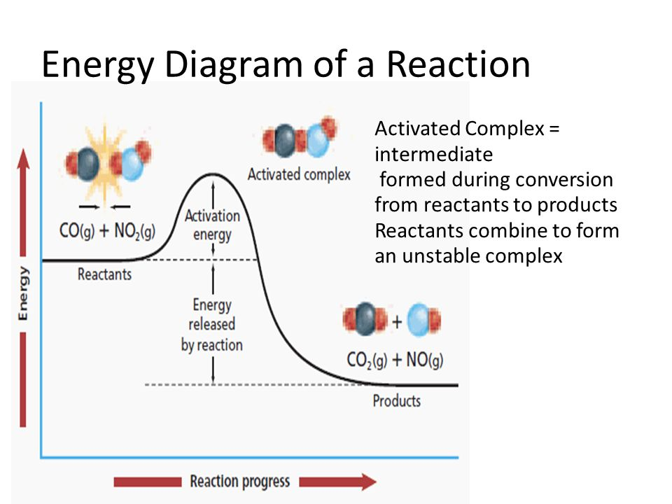 Energy Diagram of a Reaction Activated Complex = intermediate formed during conversion from reactants to products Reactants combine to form an unstabl
