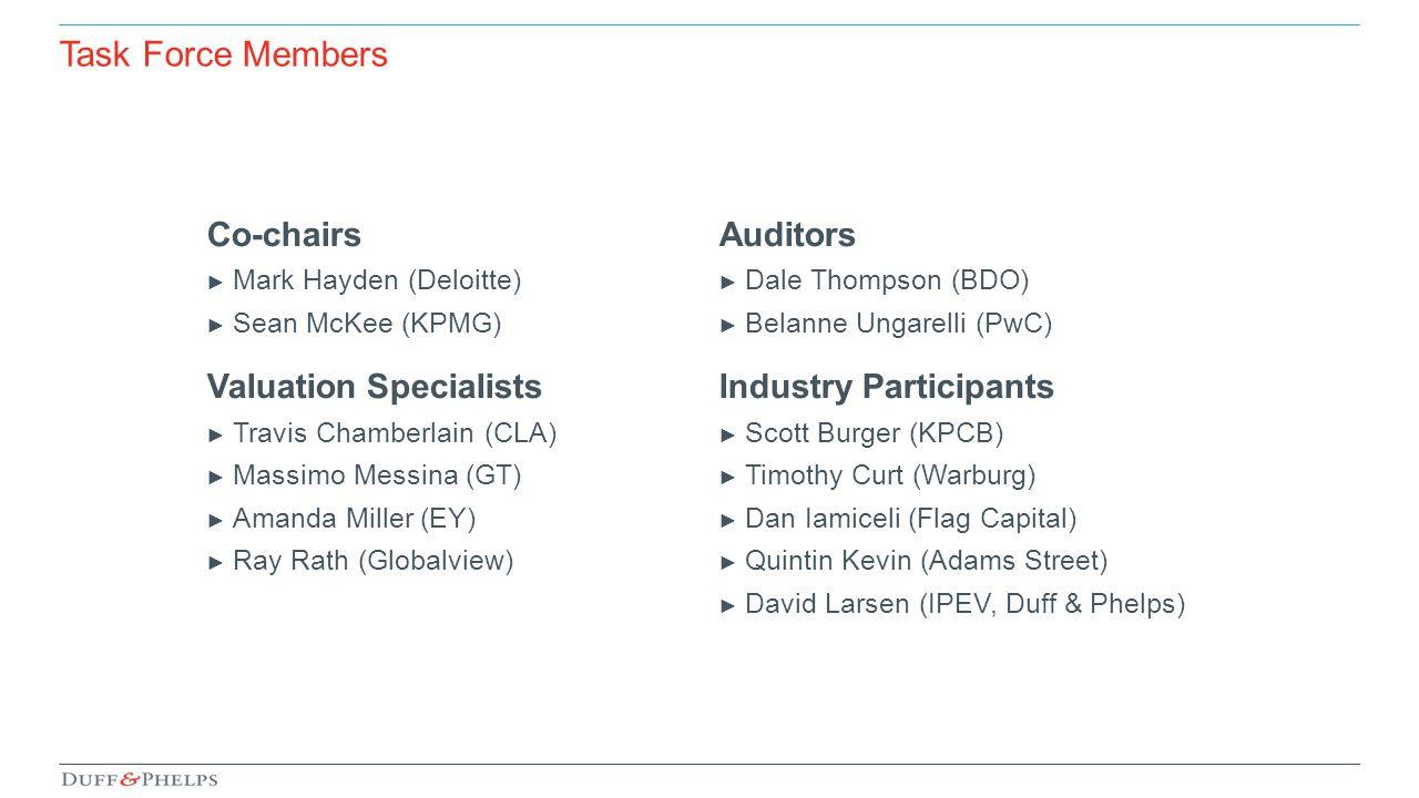 Co-chairs ► Mark Hayden (Deloitte) ► Sean McKee (KPMG) Valuation Specialists ► Travis Chamberlain (CLA) ► Massimo Messina (GT) ► Amanda Miller (EY) ►