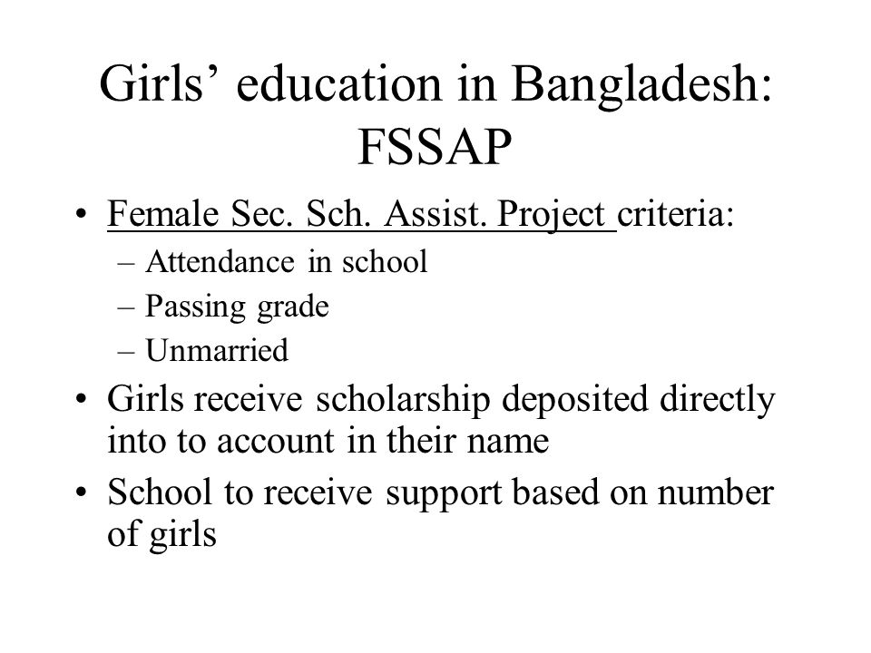 Girls' education in Bangladesh: FSSAP Female Sec. Sch.