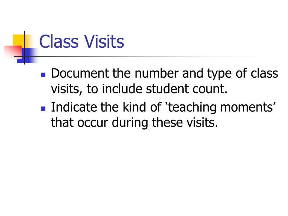 Class Visits Document the number and type of class visits, to include student count.