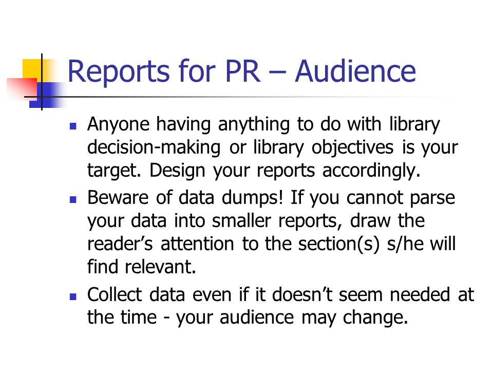 Reports for PR - Objectives There is one primary objective for K-12 media centers: learning.