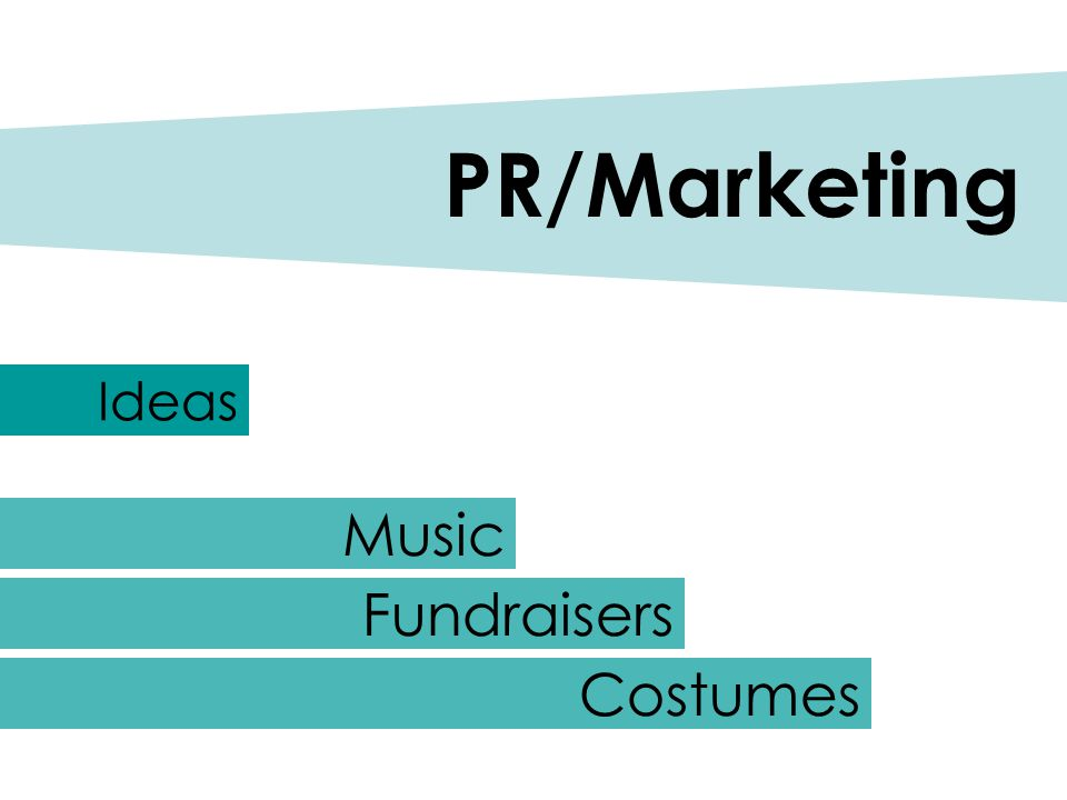 Ideas PR/Marketing Music Fundraisers Costumes