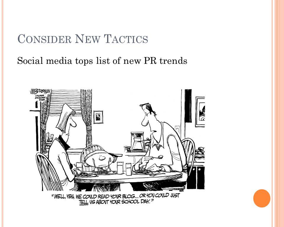 C ONSIDER N EW T ACTICS Social media tops list of new PR trends