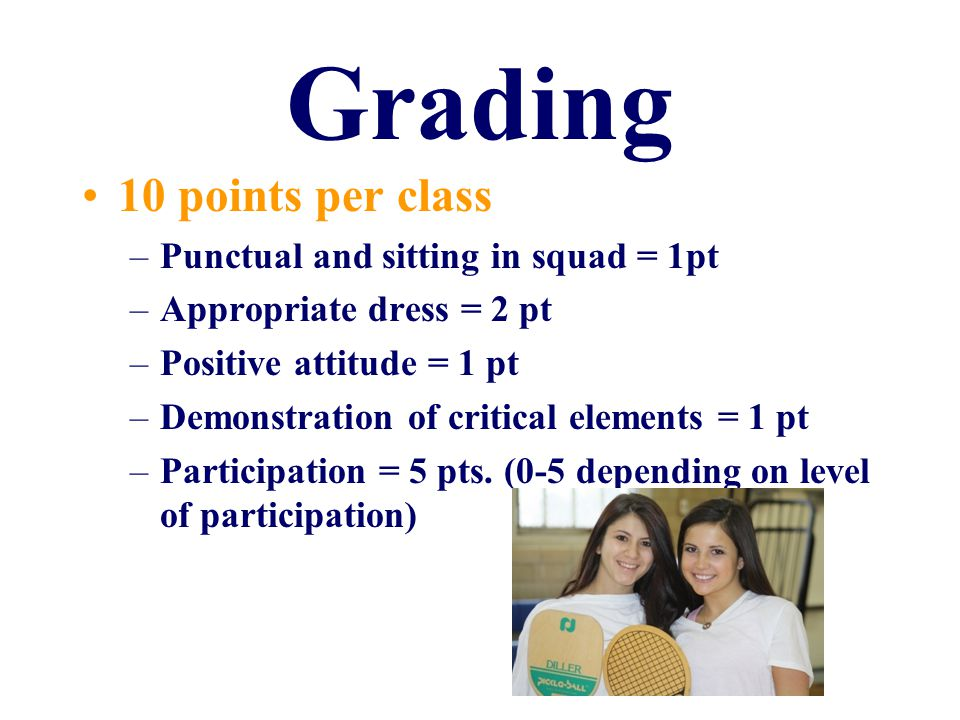 Grading 10 points per class –Punctual and sitting in squad = 1pt –Appropriate dress = 2 pt –Positive attitude = 1 pt –Demonstration of critical elements = 1 pt –Participation = 5 pts.