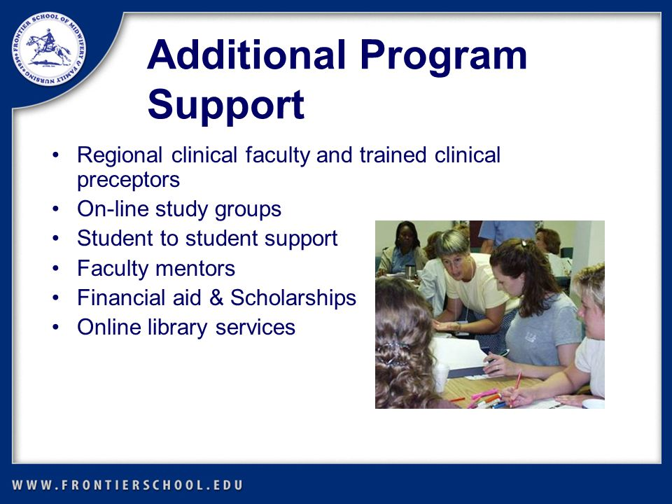 Additional Program Support Regional clinical faculty and trained clinical preceptors On-line study groups Student to student support Faculty mentors Financial aid & Scholarships Online library services