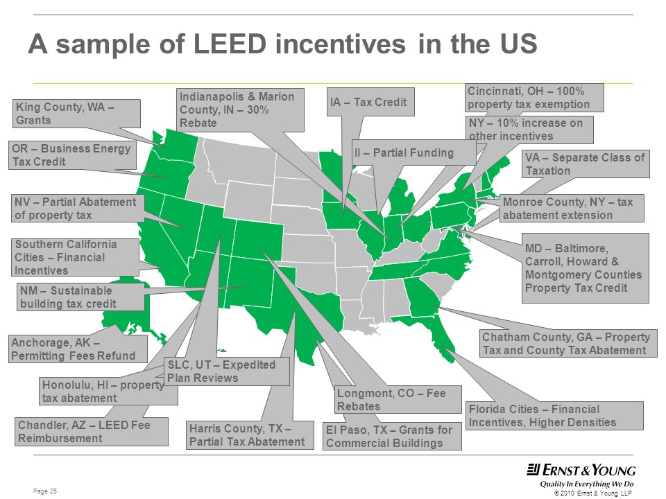 Page 25 © 2010 Ernst & Young LLP A sample of LEED incentives in the US VA – Separate Class of Taxation MD – Baltimore, Carroll, Howard & Montgomery Co