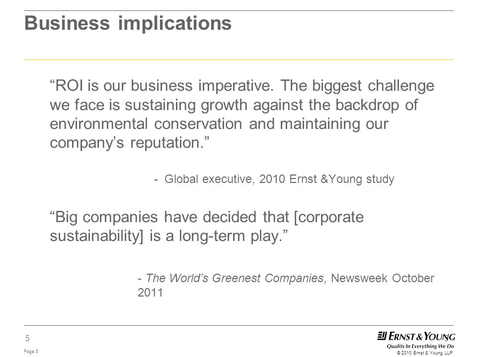 """Page 5 © 2010 Ernst & Young LLP 5 Business implications """"ROI is our business imperative. The biggest challenge we face is sustaining growth against th"""