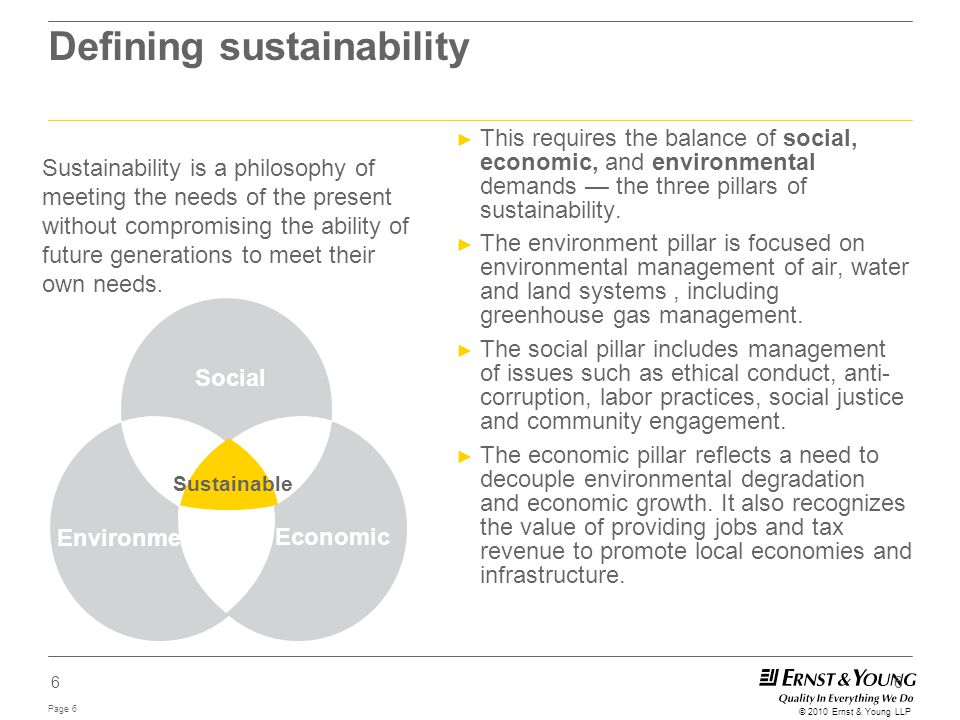 Page 6 © 2010 Ernst & Young LLP 6 Defining sustainability ► This requires the balance of social, economic, and environmental demands — the three pilla