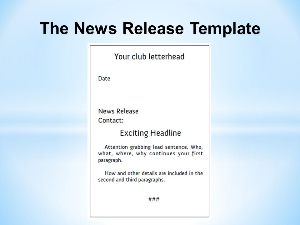 The News Release Template