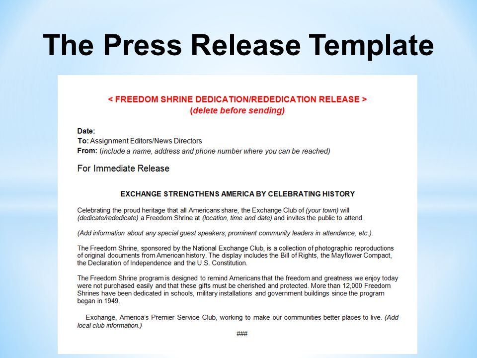 The Press Release Template