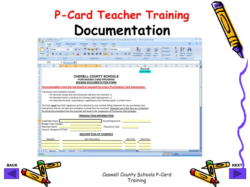 BACKNEXT Caswell County Schools P-Card Training P-Card Teacher Training Documentation