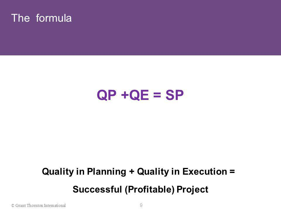 9 © Grant Thornton International The formula QP +QE = SP Quality in Planning + Quality in Execution = Successful (Profitable) Project
