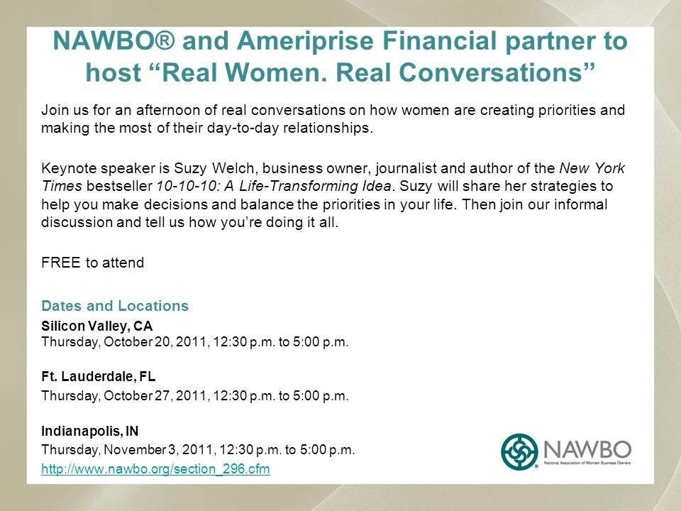 NAWBO® and Ameriprise Financial partner to host Real Women.
