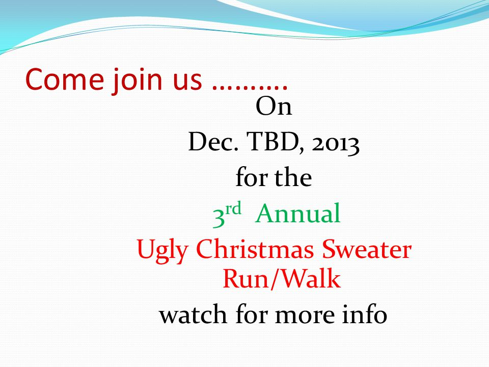 Come join us ………. On Dec.