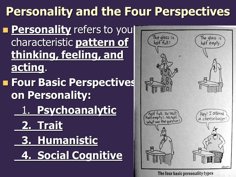 Personality and the Four Perspectives Personality refers to your characteristic pattern of thinking, feeling, and acting.