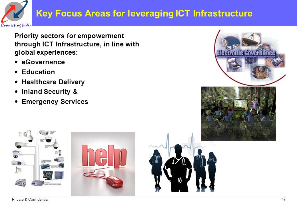 Private & Confidential Key Focus Areas for leveraging ICT Infrastructure Priority sectors for empowerment through ICT Infrastructure, in line with glo