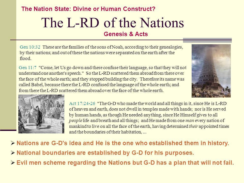The L-RD of the Nations The Nation State: Divine or Human Construct.