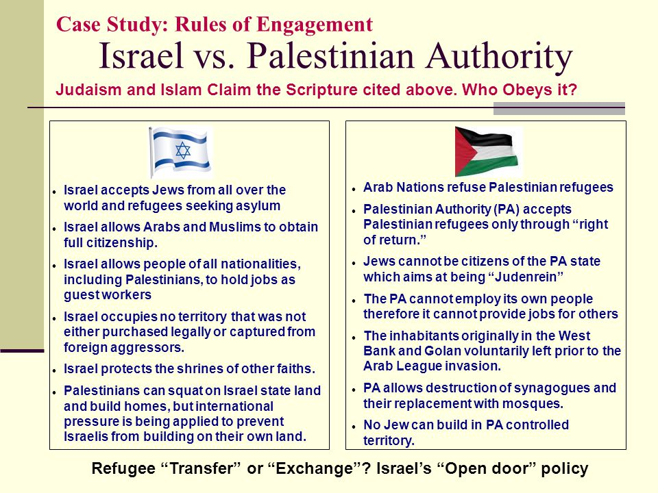 Israel vs. Palestinian Authority Case Study: Rules of Engagement Israel accepts Jews from all over the world and refugees seeking asylum Israel allows