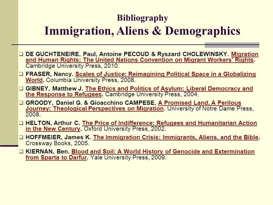 Bibliography Immigration, Aliens & Demographics  DE GUCHTENEIRE, Paul, Antoine PECOUD & Ryszard CHOLEWINSKY. Migration and Human Rights: The United N