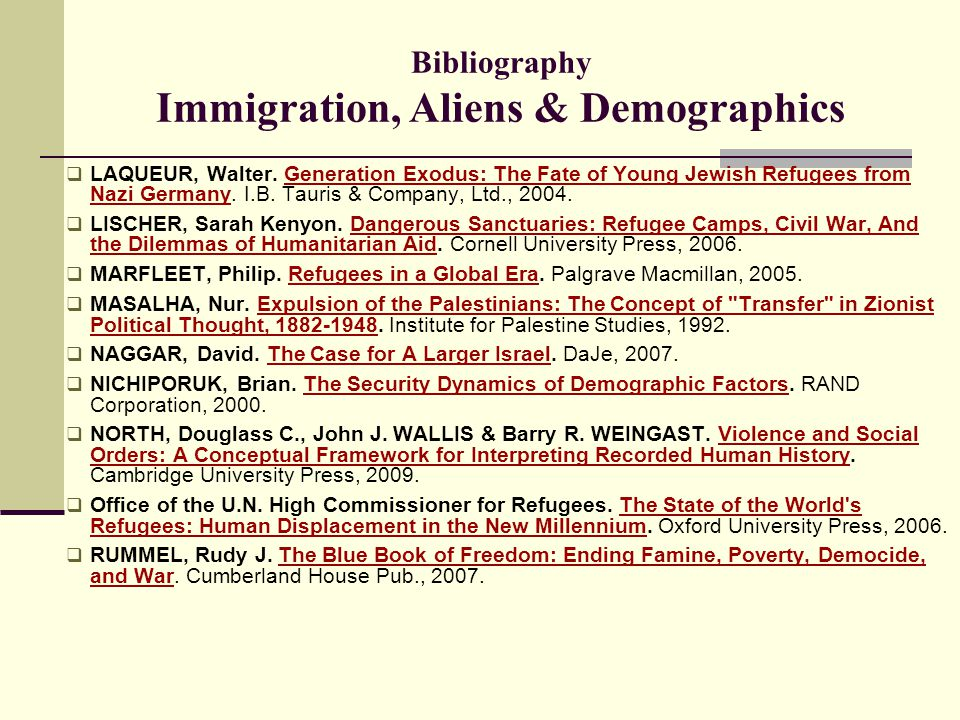 Bibliography Immigration, Aliens & Demographics  LAQUEUR, Walter. Generation Exodus: The Fate of Young Jewish Refugees from Nazi Germany. I.B. Tauris