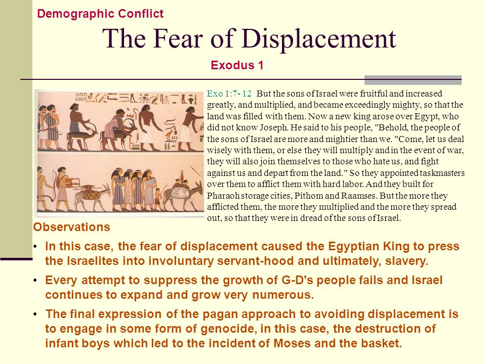 The Fear of Displacement Exo 1:7- 12 But the sons of Israel were fruitful and increased greatly, and multiplied, and became exceedingly mighty, so that the land was filled with them.