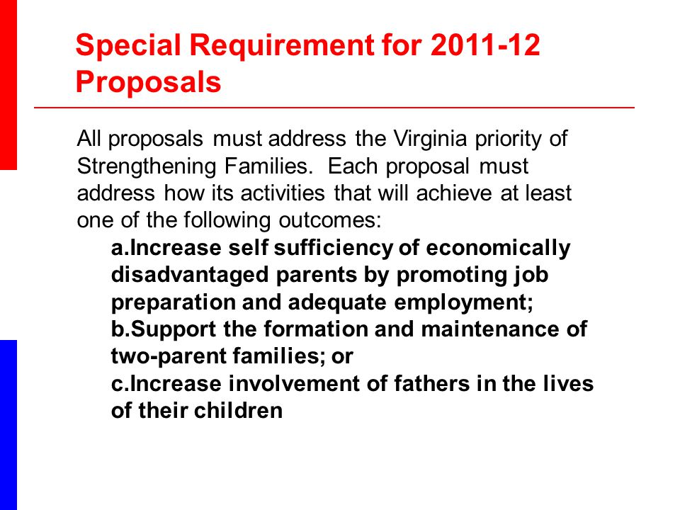 All proposals must address the Virginia priority of Strengthening Families.