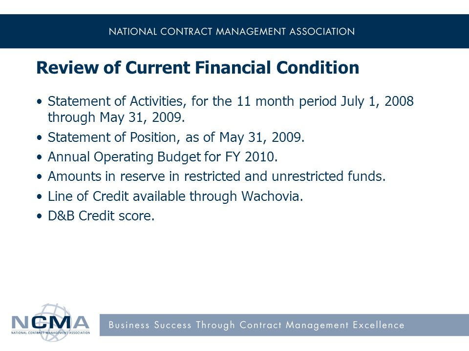 Review of Current Financial Condition Statement of Activities, for the 11 month period July 1, 2008 through May 31, 2009.