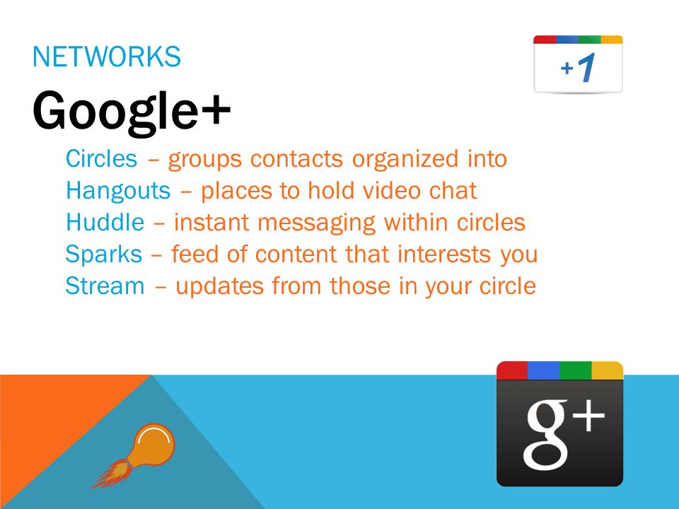 NETWORKS Google+ Circles – groups contacts organized into Hangouts – places to hold video chat Huddle – instant messaging within circles Sparks – feed of content that interests you Stream – updates from those in your circle