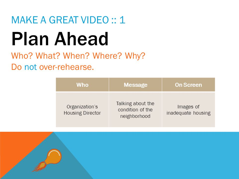 MAKE A GREAT VIDEO :: 1 Plan Ahead Who. What. When.