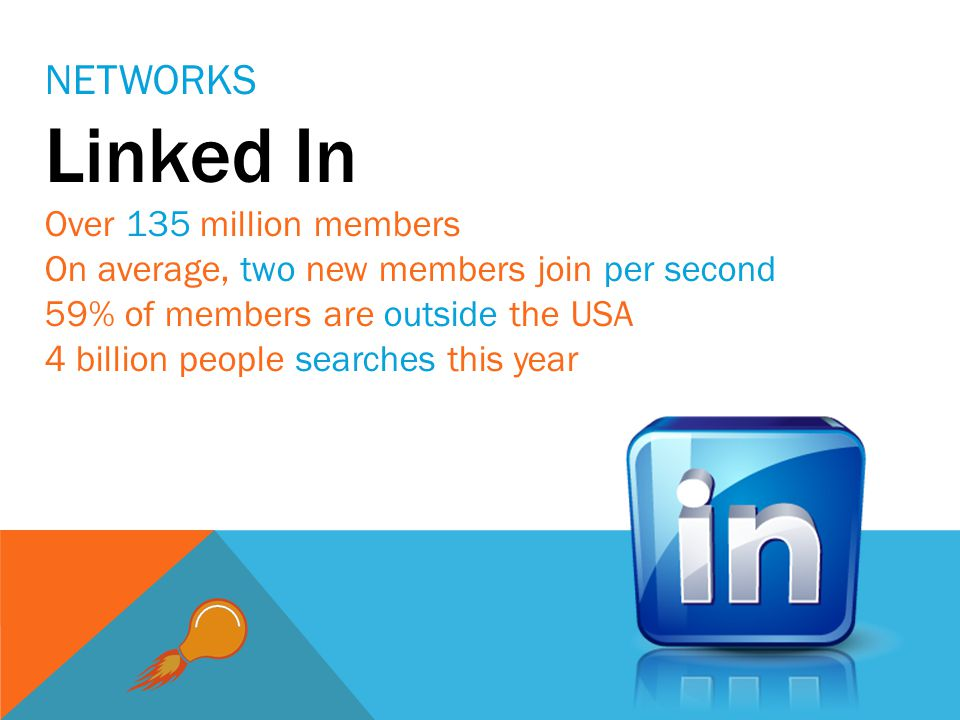 Linked In Over 135 million members On average, two new members join per second 59% of members are outside the USA 4 billion people searches this year