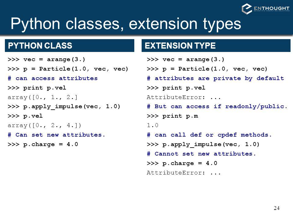 24 Python classes, extension types >>> vec = arange(3.) >>> p = Particle(1.0, vec, vec) # can access attributes >>> print p.vel array([0., 1., 2.] >>>