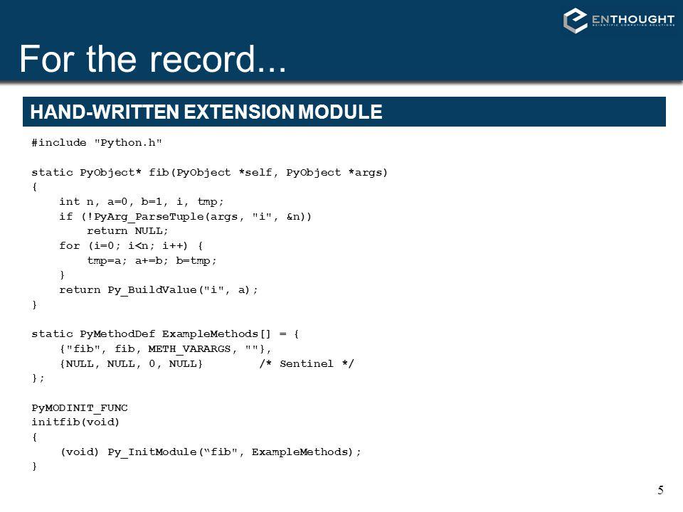 16 cdef: declare C-level object LOCAL VARIABLES def fib(int n): cdef int a, b, i...