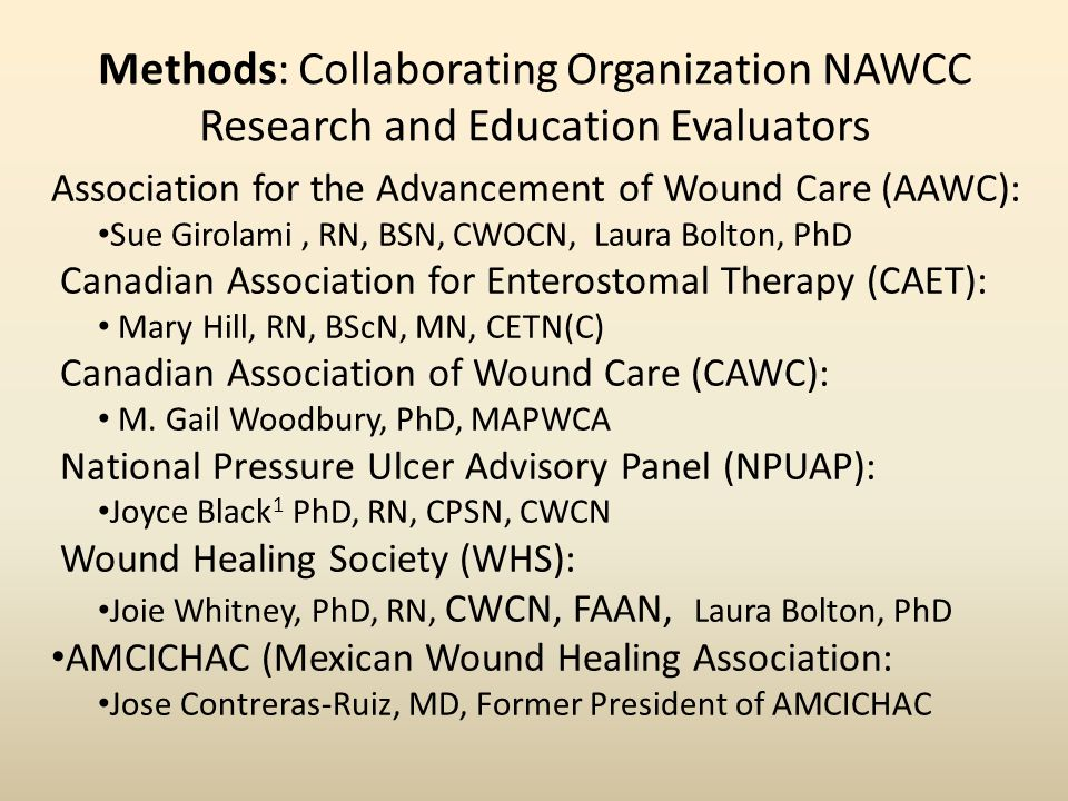 Methods: Collaborating Organization NAWCC Research and Education Evaluators Association for the Advancement of Wound Care (AAWC): Sue Girolami, RN, BSN, CWOCN, Laura Bolton, PhD Canadian Association for Enterostomal Therapy (CAET): Mary Hill, RN, BScN, MN, CETN(C) Canadian Association of Wound Care (CAWC): M.