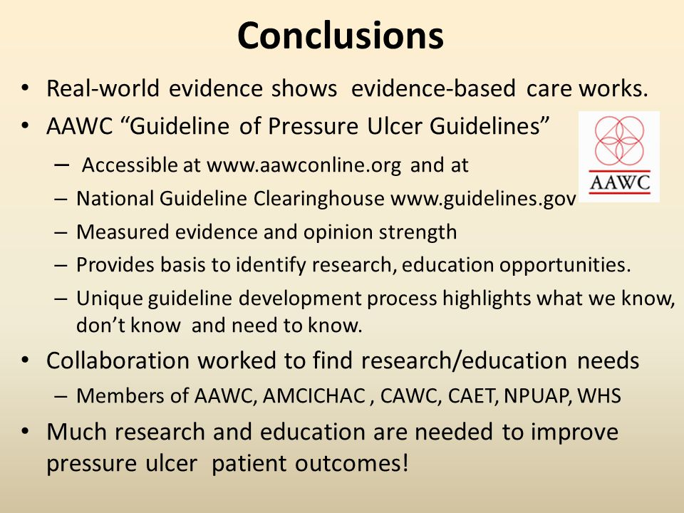 Conclusions Real-world evidence shows evidence-based care works.