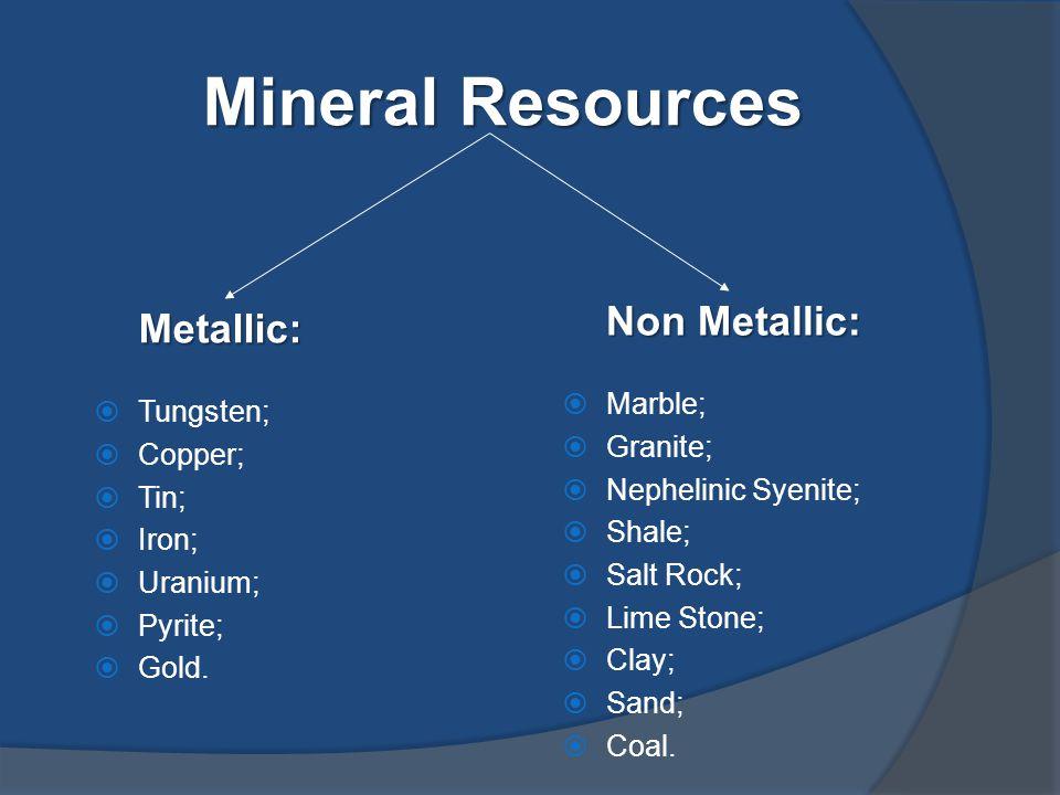 Mineral Resources Metallic:  Tungsten;  Copper;  Tin;  Iron;  Uranium;  Pyrite;  Gold.