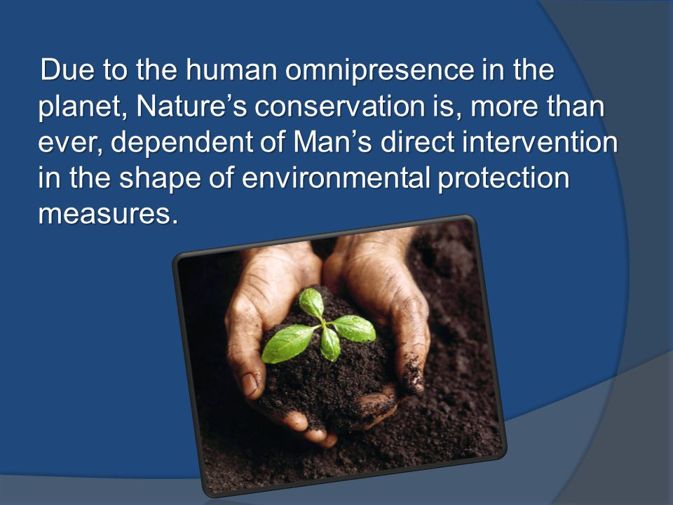 Due to the human omnipresence in the planet, Nature's conservation is, more than ever, dependent of Man's direct intervention in the shape of environmental protection measures.