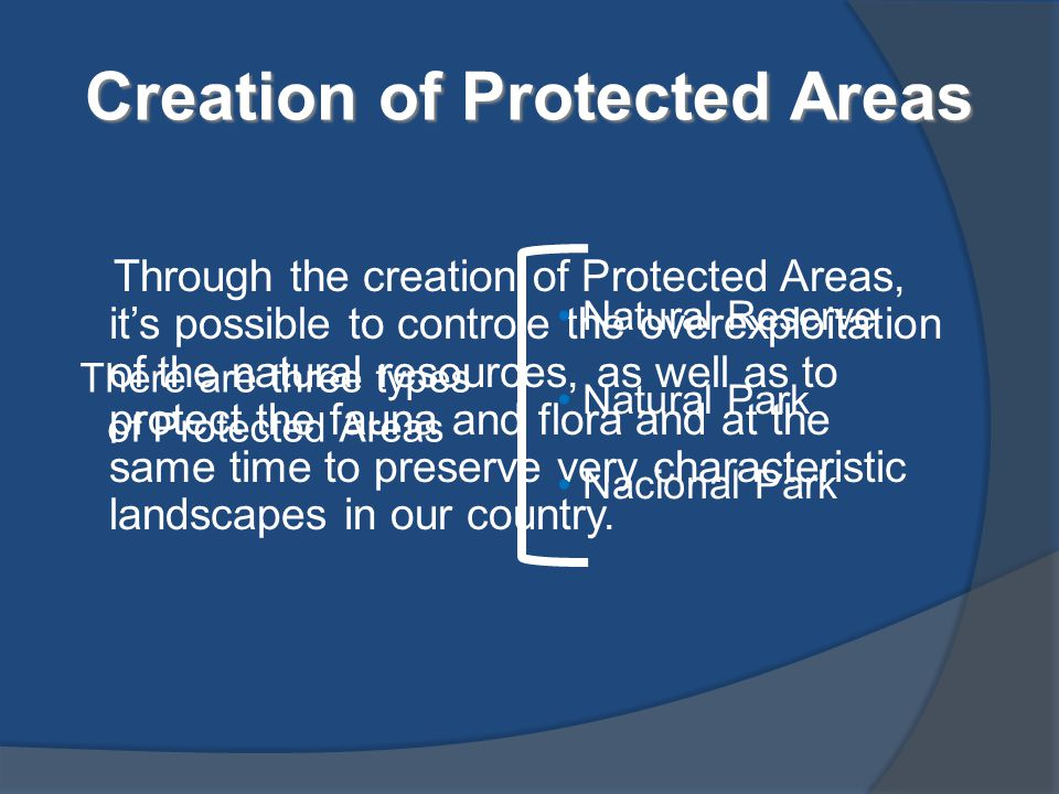 Through the creation of Protected Areas, it's possible to controle the overexploitation of the natural resources, as well as to protect the fauna and
