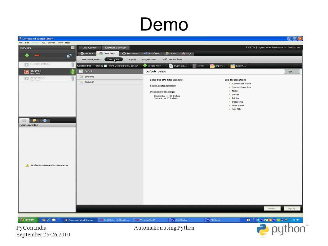 PyCon India September 25-26,2010 Demo Automation using Python