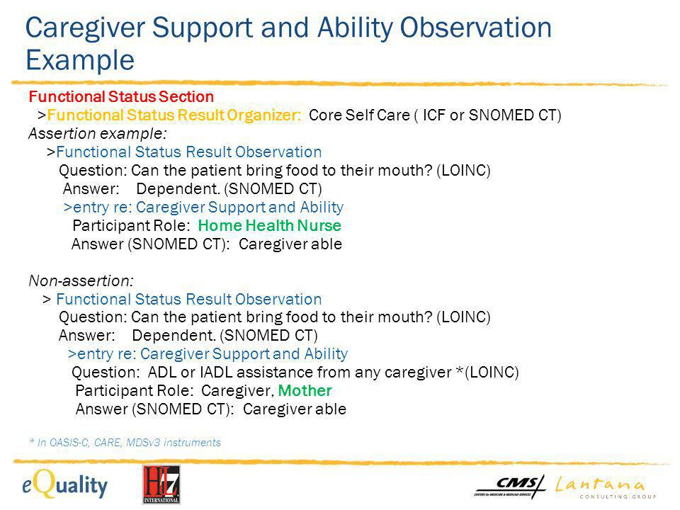 Caregiver Support and Ability Observation Example Functional Status Section >Functional Status Result Organizer: Core Self Care ( ICF or SNOMED CT) As