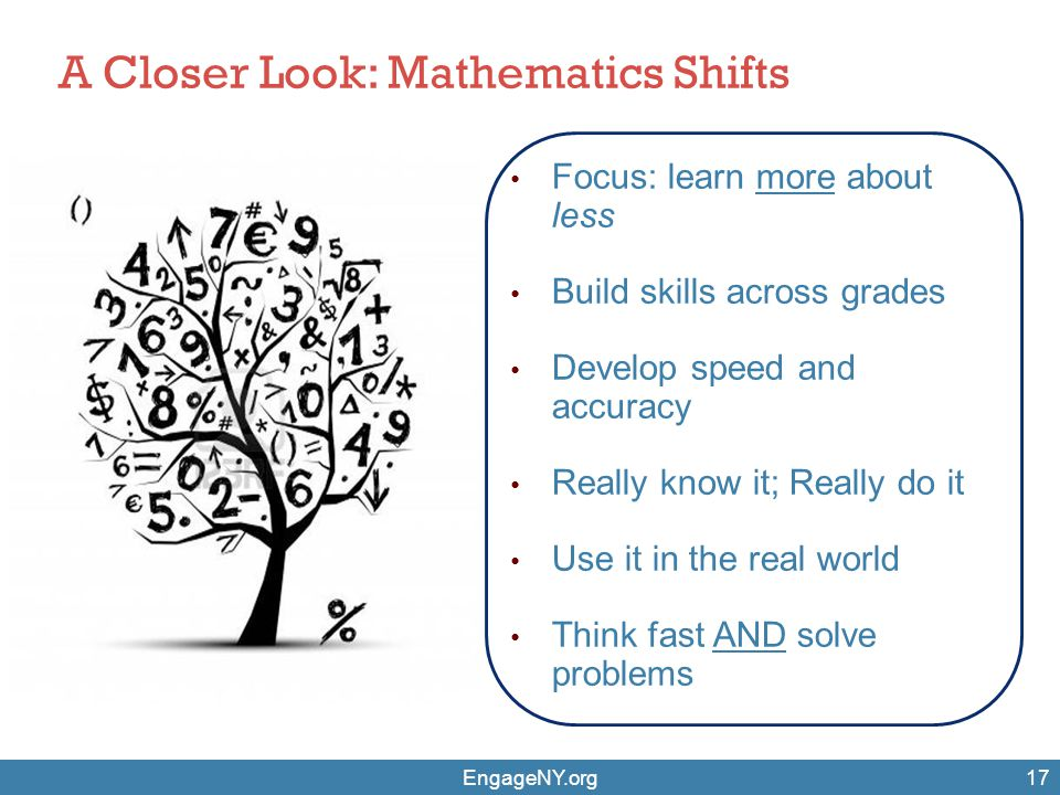 EngageNY.org17 Focus: learn more about less Build skills across grades Develop speed and accuracy Really know it; Really do it Use it in the real worl