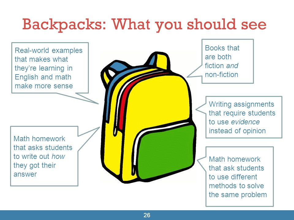 Backpacks: What you should see 26 Real-world examples that makes what they're learning in English and math make more sense Math homework that asks stu
