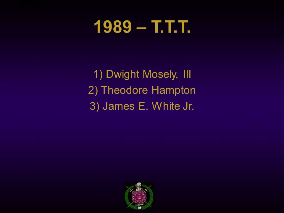 1989 – T.T.T. 1) Dwight Mosely, III 2) Theodore Hampton 3) James E. White Jr.