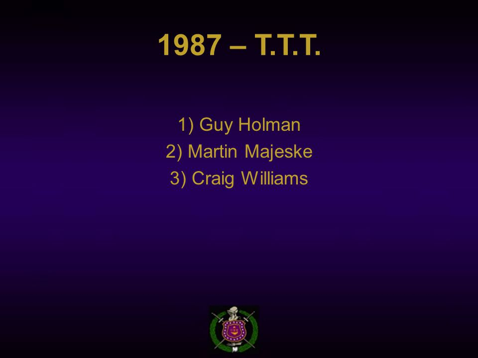 1987 – T.T.T. 1) Guy Holman 2) Martin Majeske 3) Craig Williams