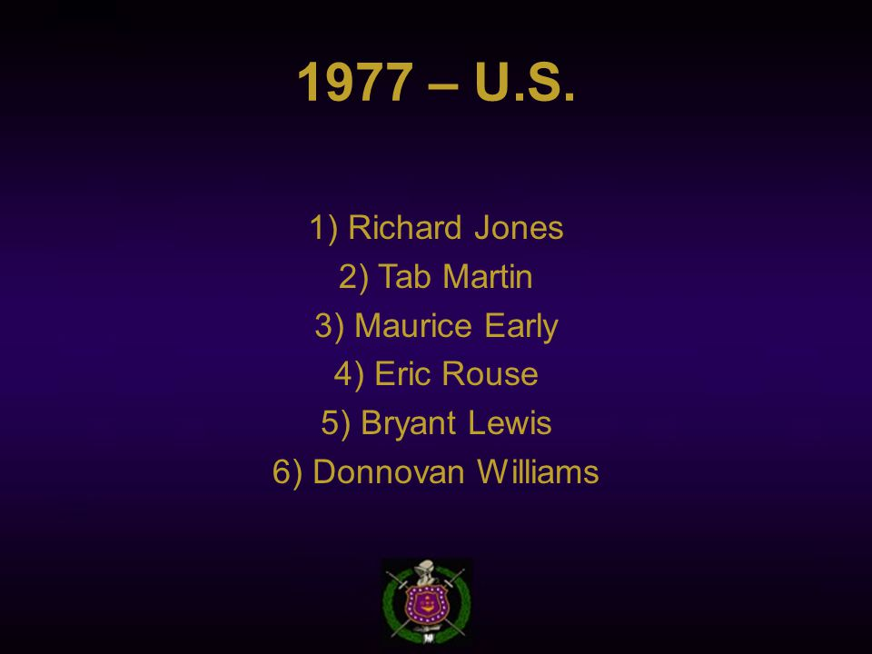 1977 – U.S. 1) Richard Jones 2) Tab Martin 3) Maurice Early 4) Eric Rouse 5) Bryant Lewis 6) Donnovan Williams