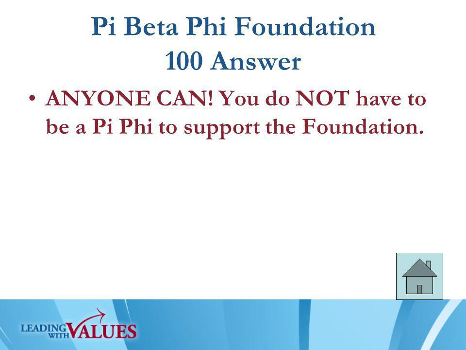 Pi Beta Phi Foundation 100 Answer ANYONE CAN.
